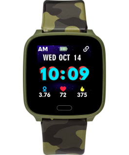iConnect by Timex Kids Active 37mm Resin Strap Smartwatch Green/Camo large