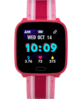 iConnect by Timex Kids Active 37mm Resin Strap Smartwatch Rose-Gold-Tone/Red large