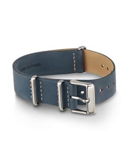 20mm Slip Thru Leather Strap Blue large