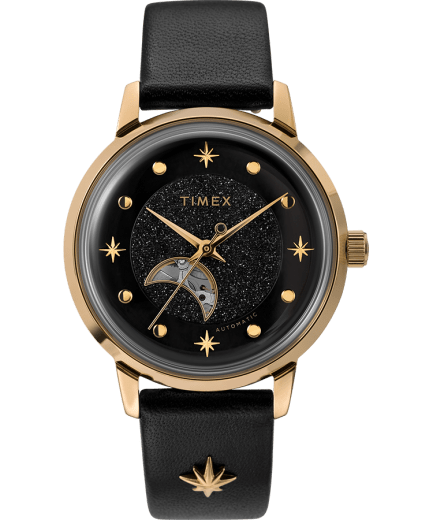 Celestial Opulence Automatic 38mm Leather Strap Watch