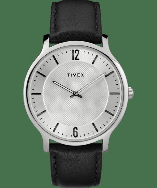 Metropolitan Mens 40mm Leather Watch Timex