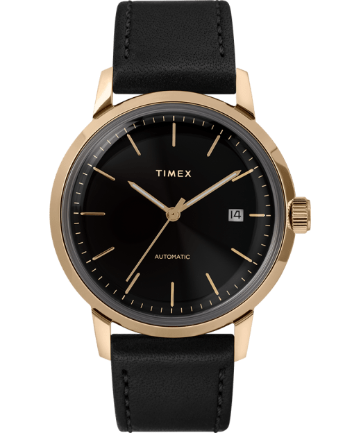 Marlin 40mm Automatic Leather Strap Watch Timex