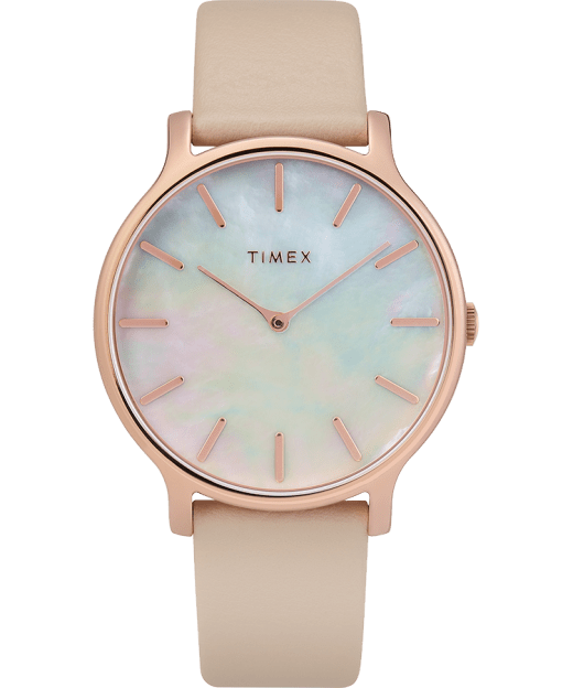 Transcend 38mm Leather Strap Watch Timex Us