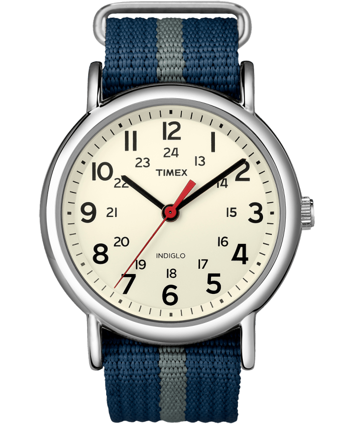 Weekender 38mm Fabric Strap Watch Silver-Tone/Blue/White large