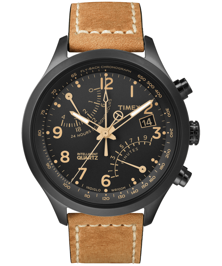 Intelligent Quartz Fly-Back Chronograph 43mm Leather Watch  large