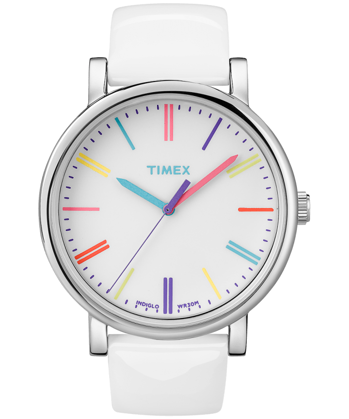 Originals 38mm Patent Leather Strap Watch Silver-Tone/White large
