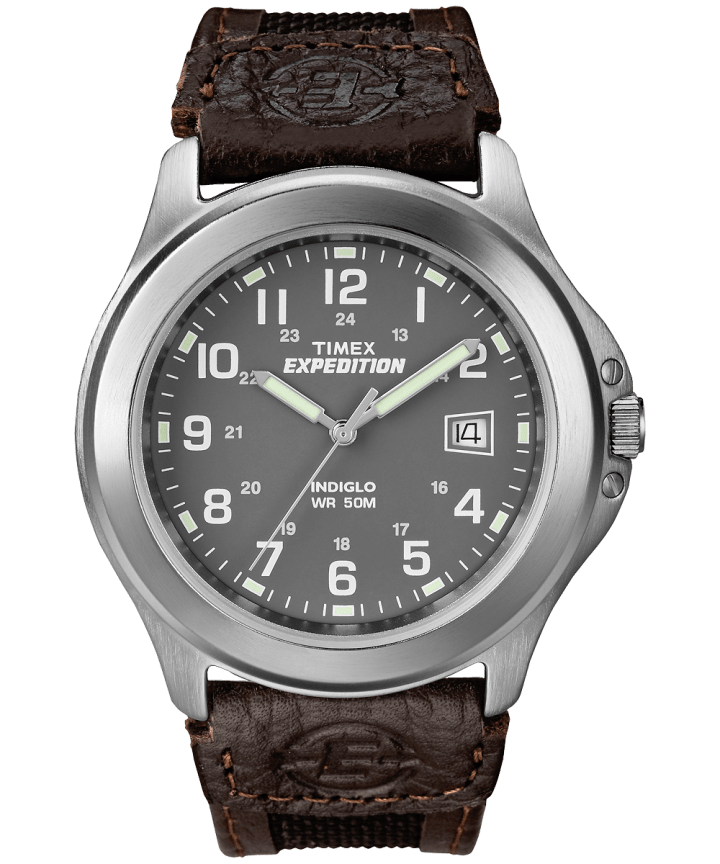 Expedition Metal Field 40mm Leather Strap Watch Silver-Tone/Black/Gray large