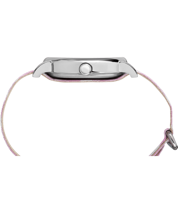 Weekender Patterned 38mm Fabric Strap Watch Chrome/Pink/White large