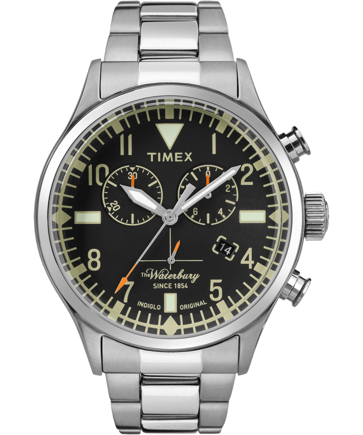Waterbury Chronographe traditionnelle 42 mm grande, acier inoxydable