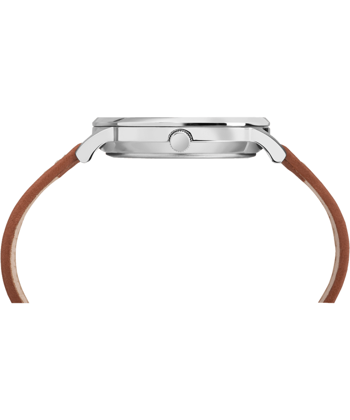 Waterbury Classic 40mm Leather Strap Watch Stainless-Steel/Tan/Cream large