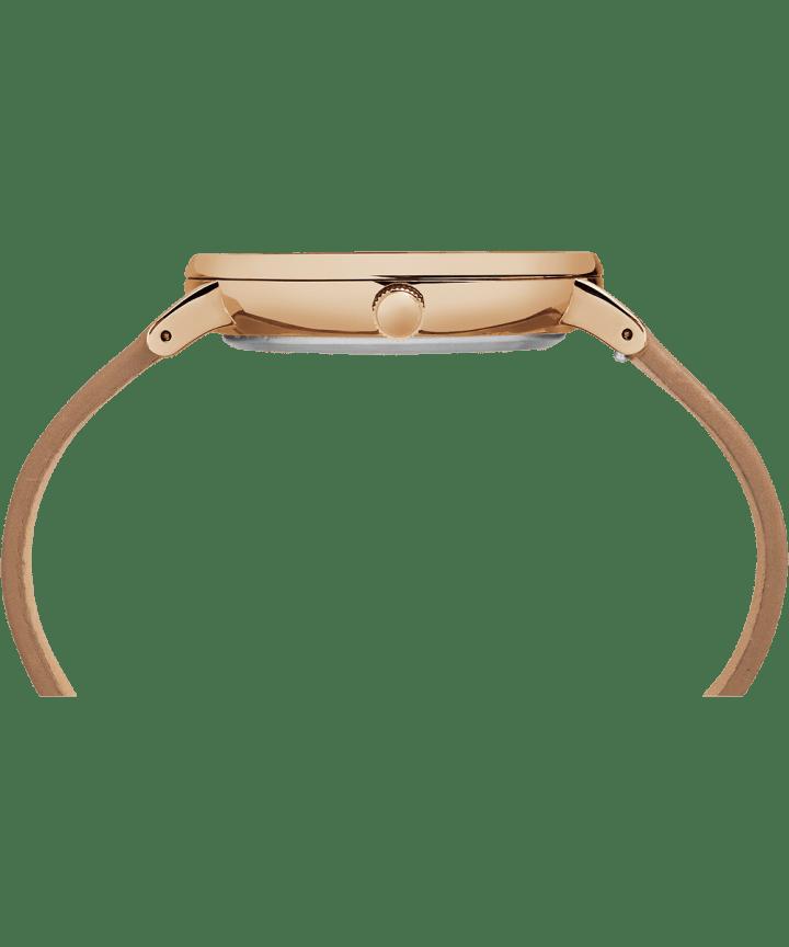 Fairfield 41mm, grande, bracelet en cuir ton or rose/havane/naturel