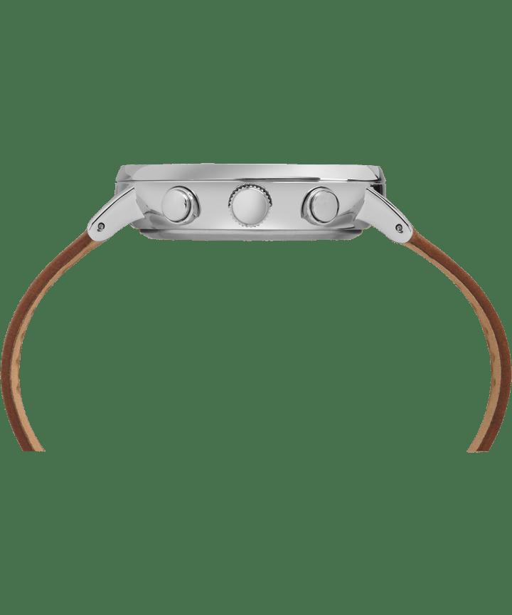 Fairfield Chronographe 41mm, grande, bracelet en cuir ton argent/havane/blanc