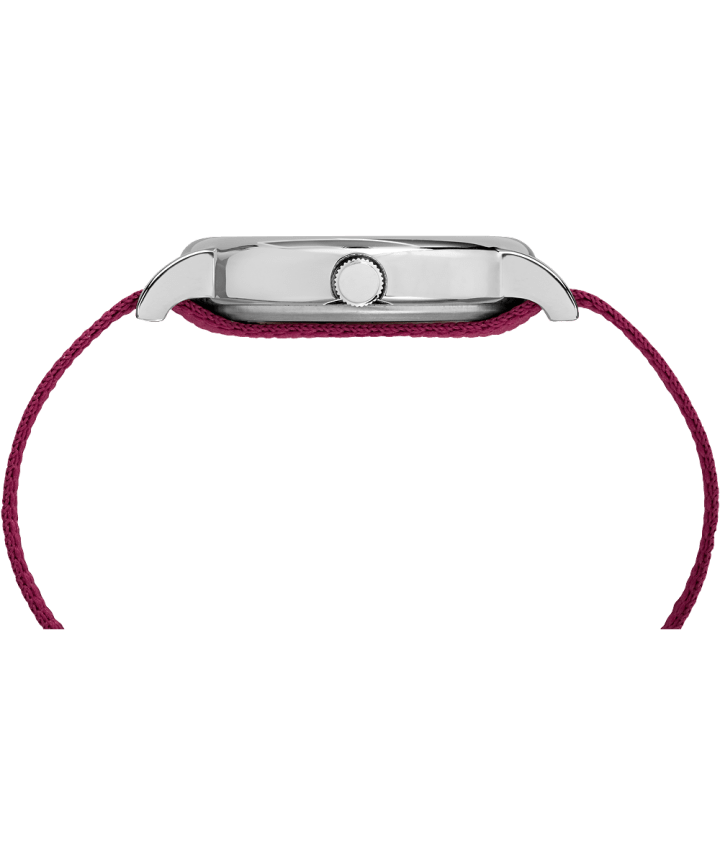 Weekender Patterned 38mm Nylon Strap Watch Chrome/Red/Cream large
