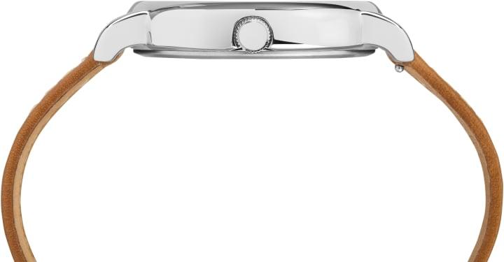 Weekender 40mm, grande, bracelet en cuir 2pièces ton argent/havane/bleu