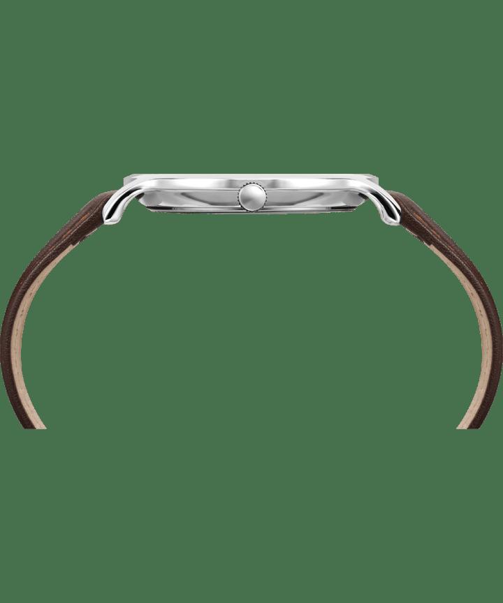 Metropolitan 40mm Leather Watch Silver-Tone/Brown/Blue large