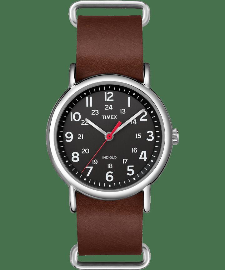 Weekender 38mm Leather Strap Watch Silver-Tone/Brown/Black large