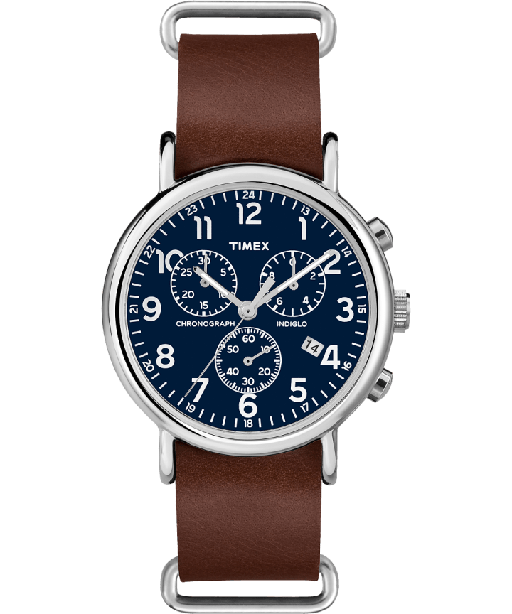 Weekender Chronograph 40mm Leather Strap Watch Silver-Tone/Tan/Blue large