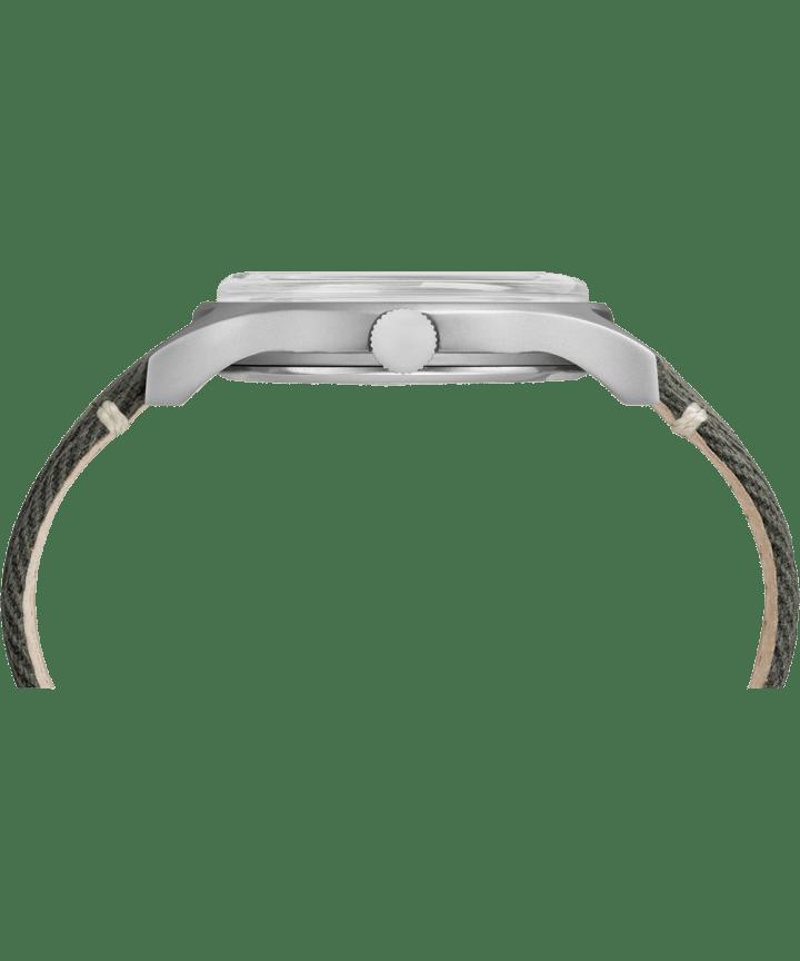 Zegarek MK1 ze stalową kopertą 40 mm i paskiem materiałowym Stalowy/Zielony large