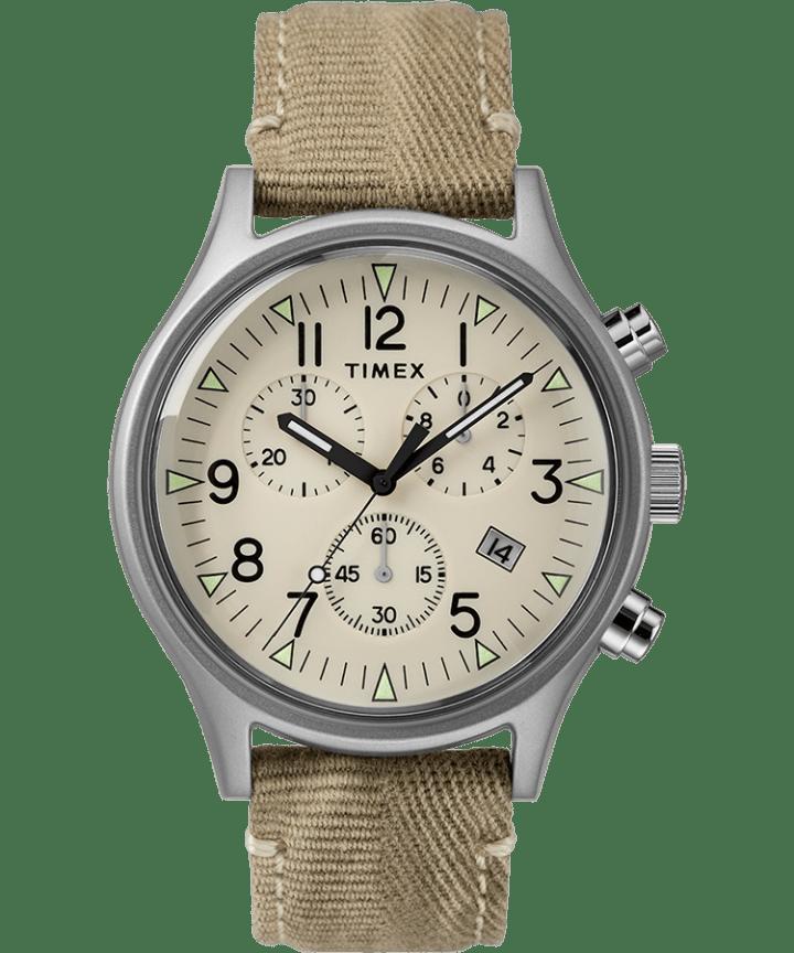 MK1 Chronograph Steel 42mm Fabric Strap Watch  large