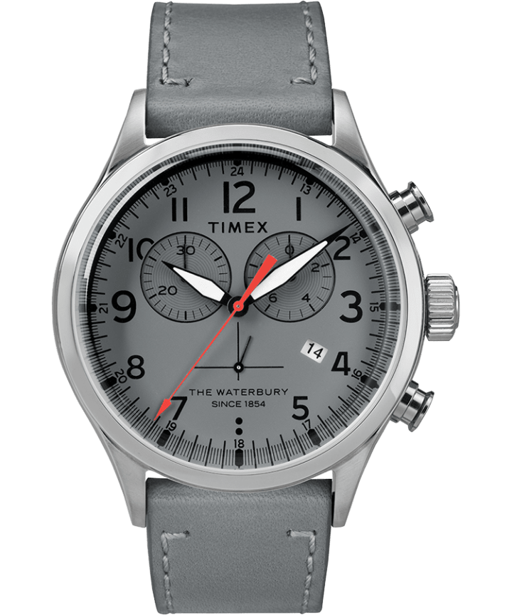 Waterbury Traditional Chronograph Numbered Dial 42mm Leather Watch  large