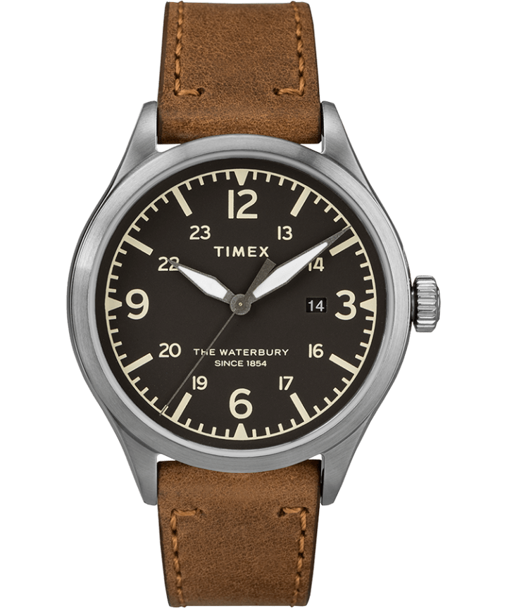 Waterbury Traditional 3 Hand Date 40mm Leather Watch  large