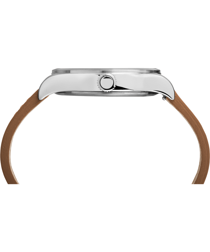 Waterbury Traditional 40mm Leather Strap Watch Stainless-Steel/Tan/Black large