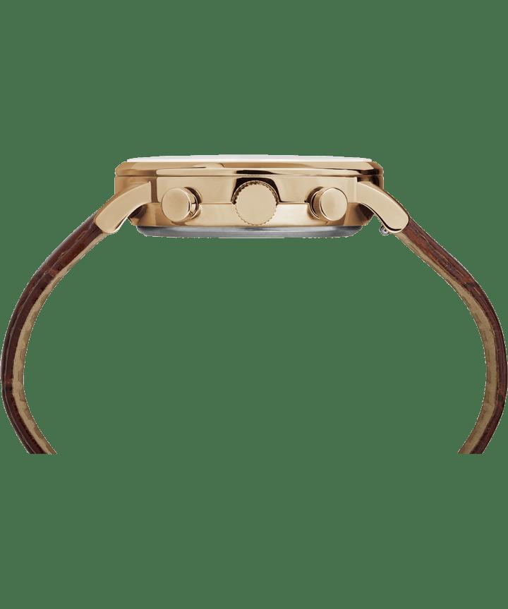 Waterbury Chronographe classique 40mm, grande, bracelet en cuir ton or rose/brun/noir