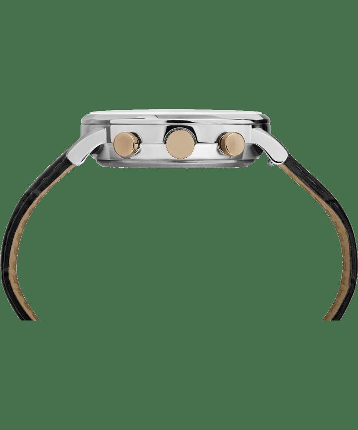 Waterbury Chronographe classique 40mm, grande, bracelet en cuir acier inoxydable/noir/blanc