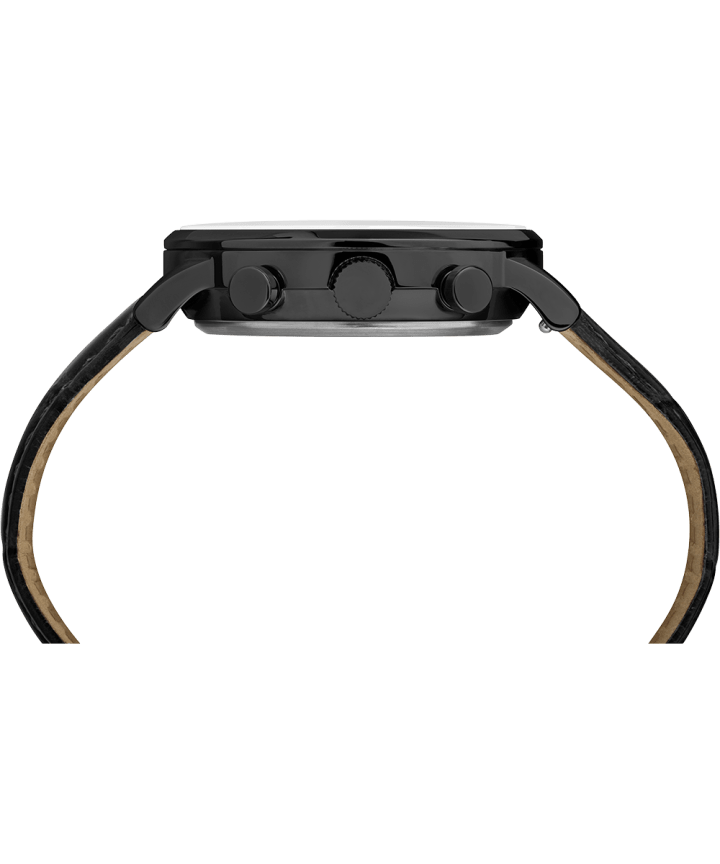 Waterbury Classic Chronograph 40mm Leather Strap Watch Black/Black large