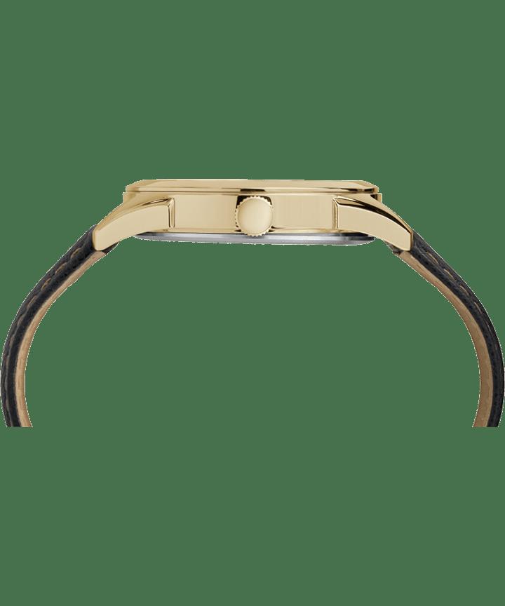 Torrington Men's Date 40mm Leather Strap Watch Gold-Tone/Black large