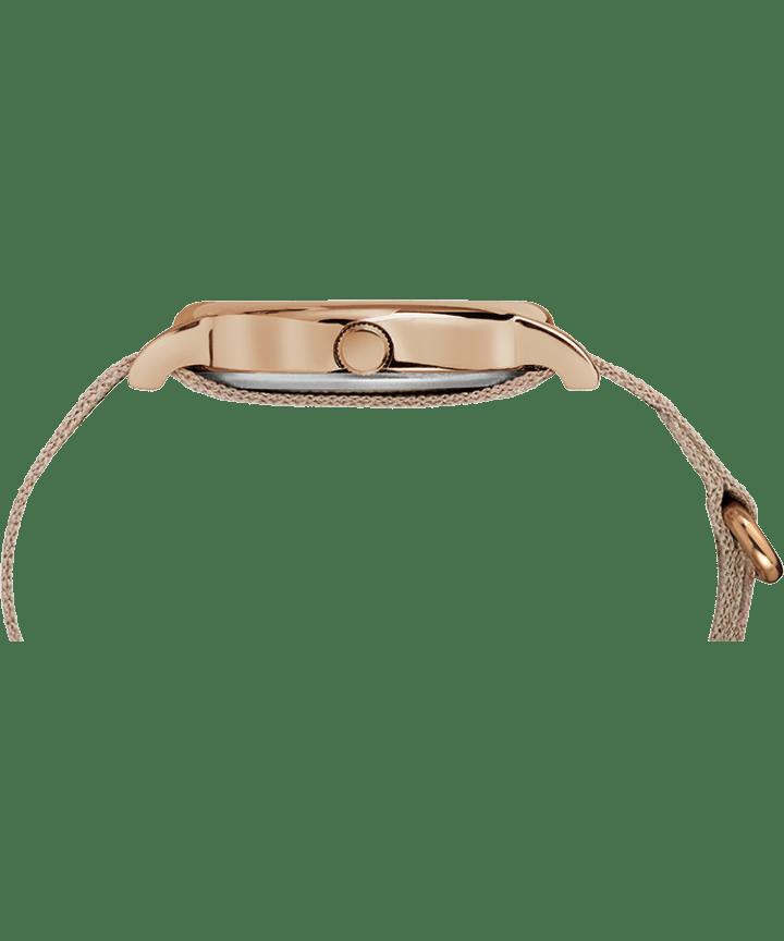 Weekender 38mm Metallic Striped Fabric Strap Watch Rose-Gold-Tone/Pink/Cream large