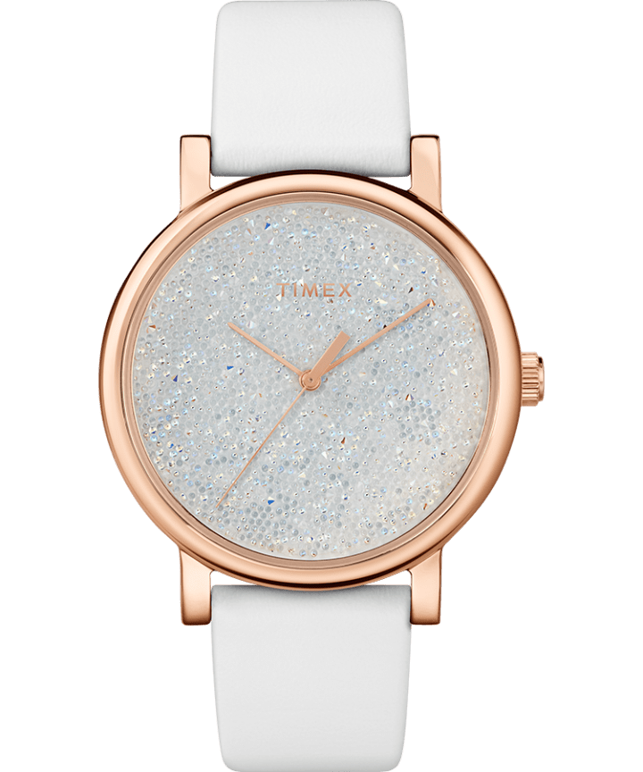 Crystal Opulence with Full Swarovski Dial 38mm Leather Strap Watch large