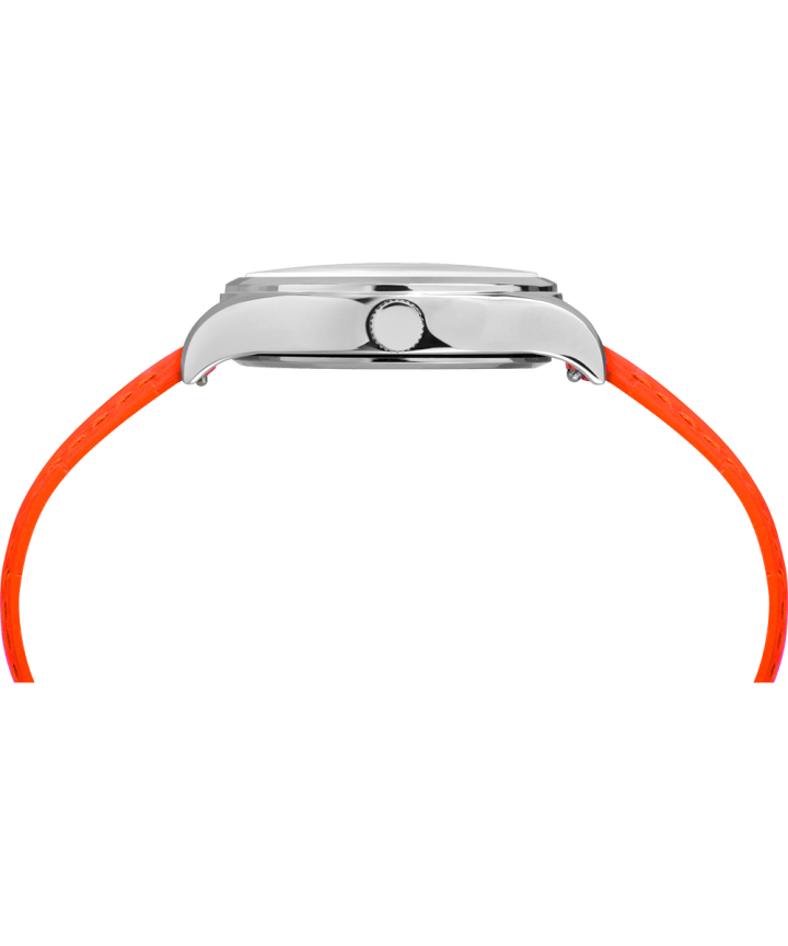 WATERBURY NEON WOMENS 34MM LEATHER STRAP WATCH Silver-Tone/Orange/White large
