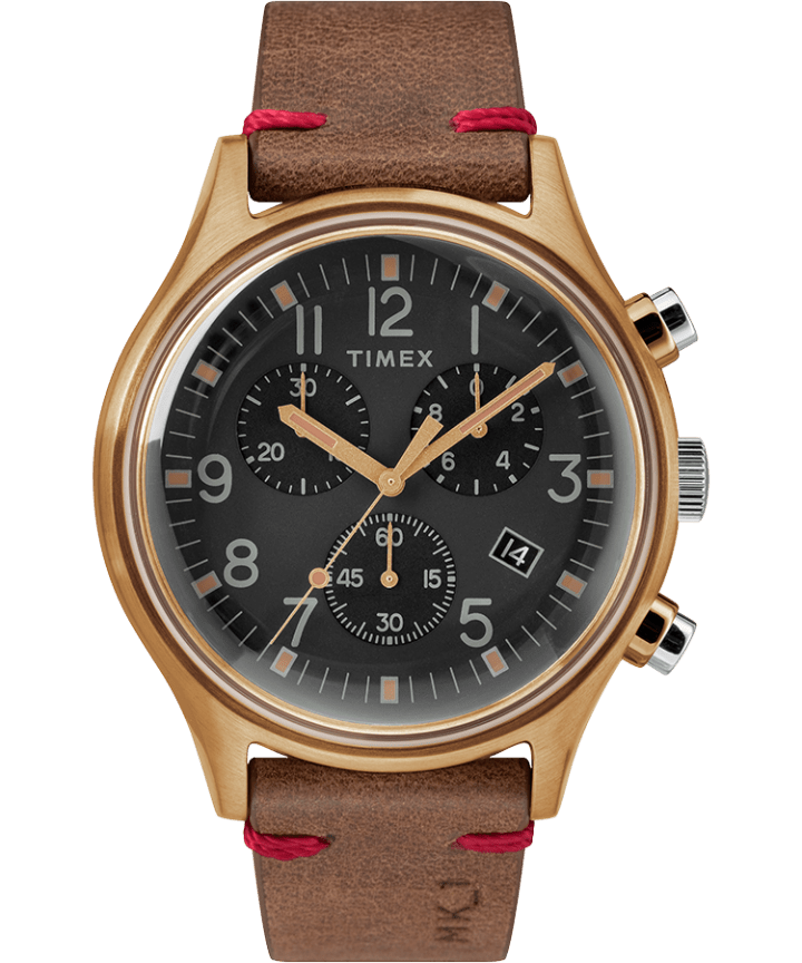 MK1 Chronograph Steel 42mm Leather Strap Watch  large