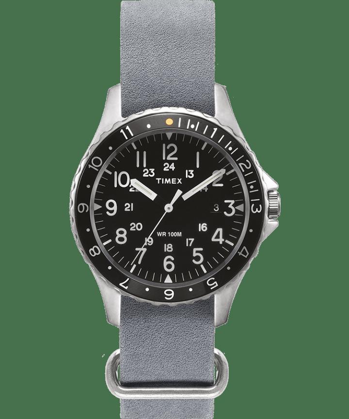Navi Ocean 38mm Stonewashed Leather Strap Watch  large