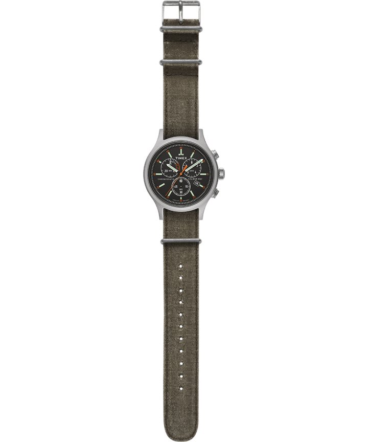 Allied Chronograph 42mm Stonewashed Fabric Strap Watch Silver-Tone/Green/Black large