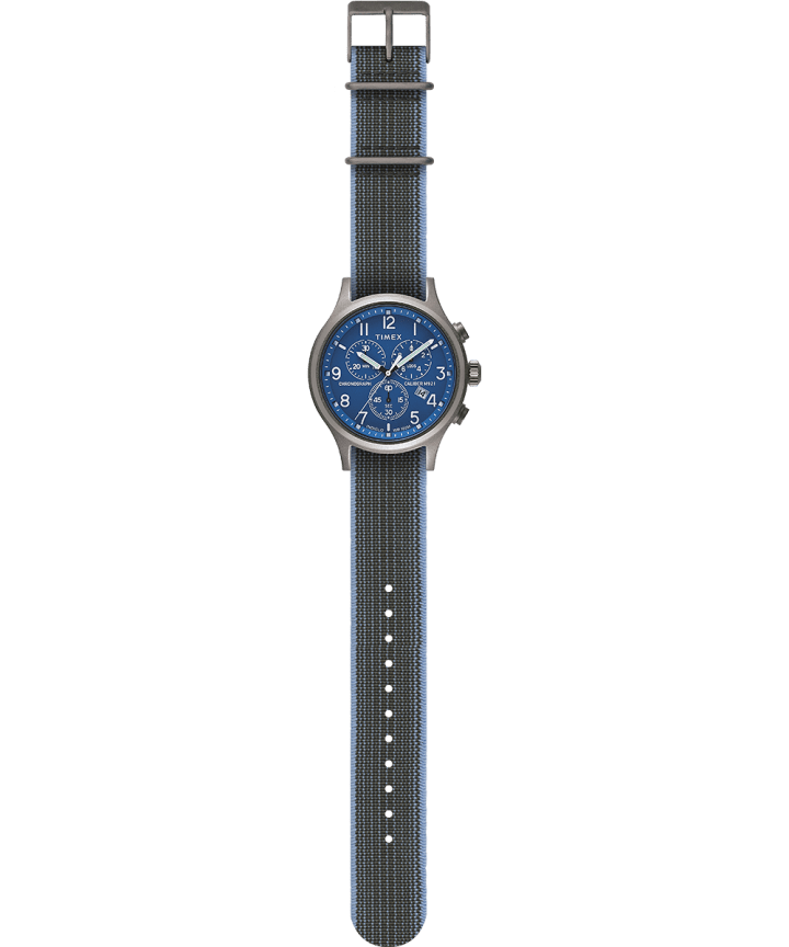 Allied Chronograph 42mm Elastic Fabric Strap Watch Silver-Tone large