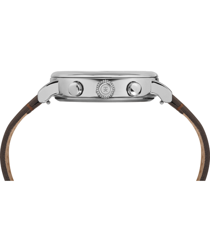 Timex® Standard Chronograph 41mm Leather Strap Watch Silver-Tone/Brown/Cream large