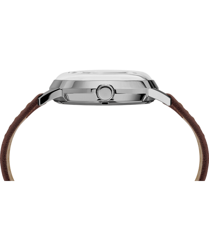 Marlin® Automatic 40mm Leather Strap Watch Brown/Silver-Tone large