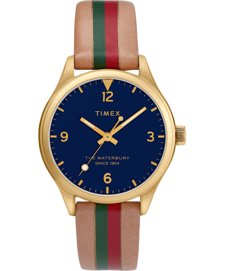 Waterbury Traditional Womens 34mm Leather Strap Watch with Stripe  large