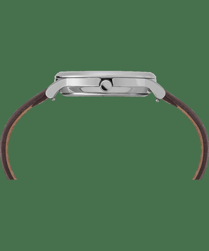 Waterbury classique 40mm, grande, bracelet en cuir acier inoxydable/brun/noir