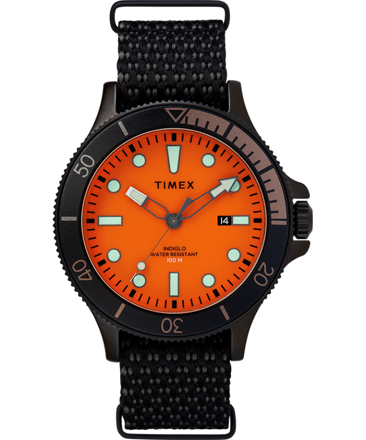 Allied Coastline 43mm with Rotating Bezel Fabric Strap Watch  large