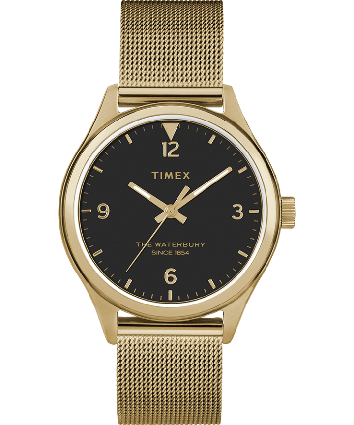 Waterbury Traditional 34mm Stainless Steel Mesh Band Watch Gold-Tone/Black large