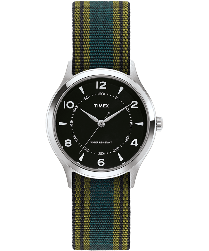 Whitney Village 38mm Grosgrain Strap with Black Dial Watch  large