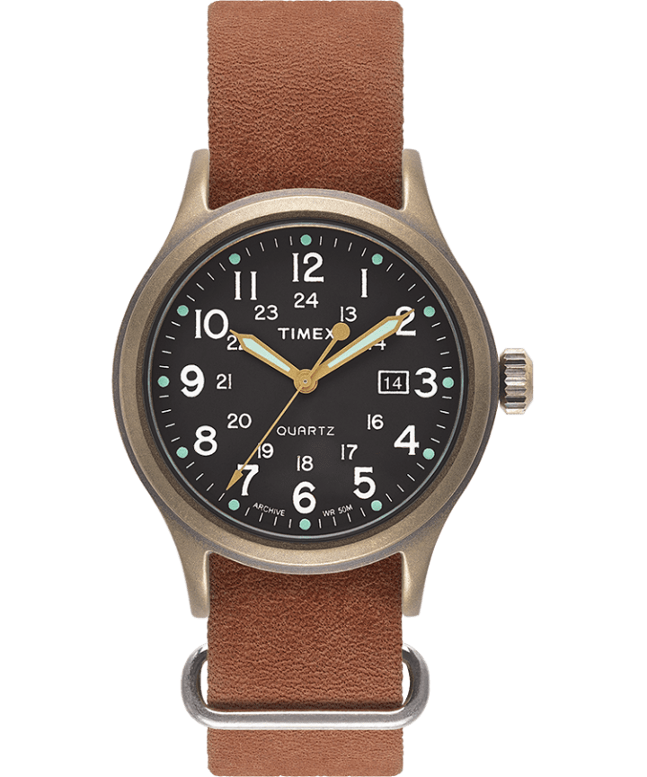 Allied 40mm Stonewashed Distressed Leather Strap Watch  large