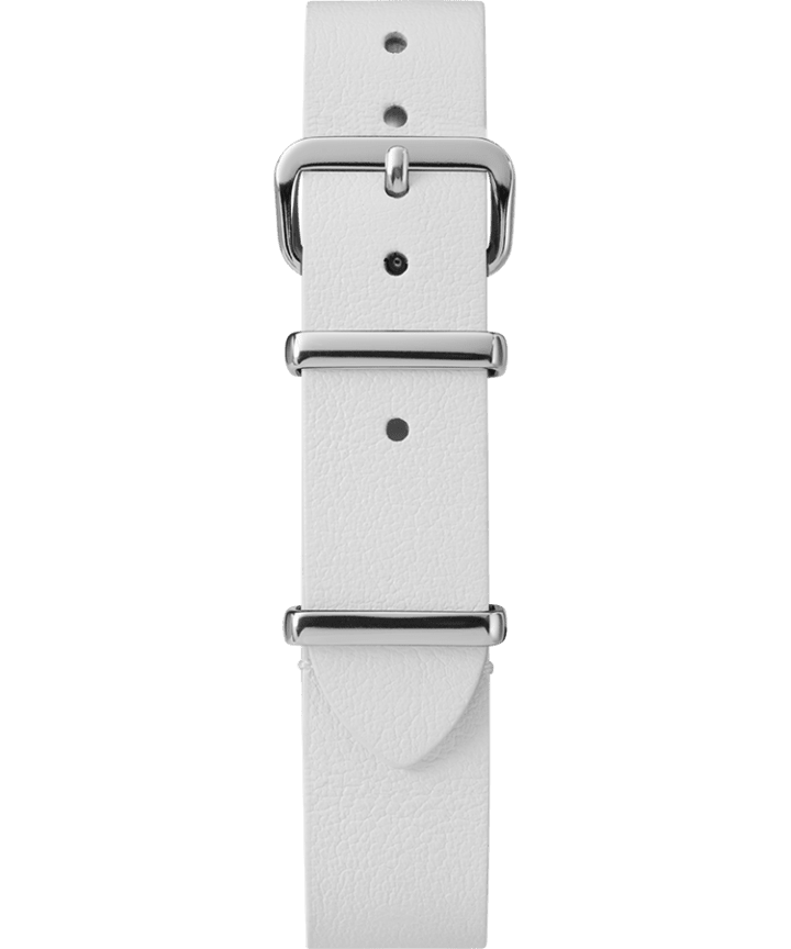 16mm Leather Slip-Thru Single Layer Strap White large