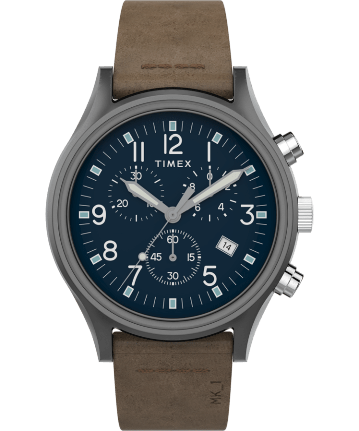 MK1 Steel Chronograph 42mm Leather Strap Watch  large