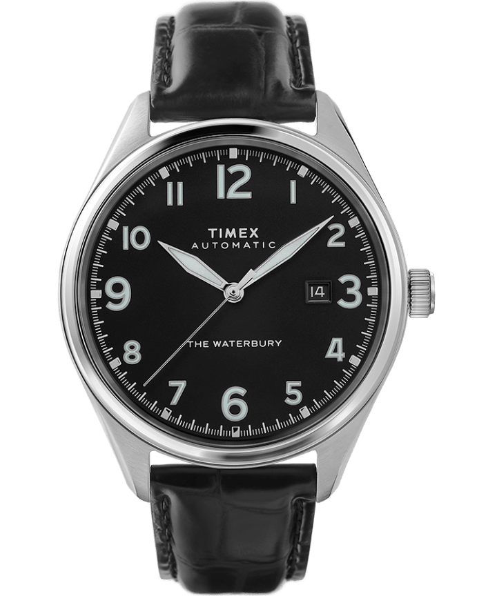 Waterbury Traditional Automatic 42mm Leather Strap Watch  large