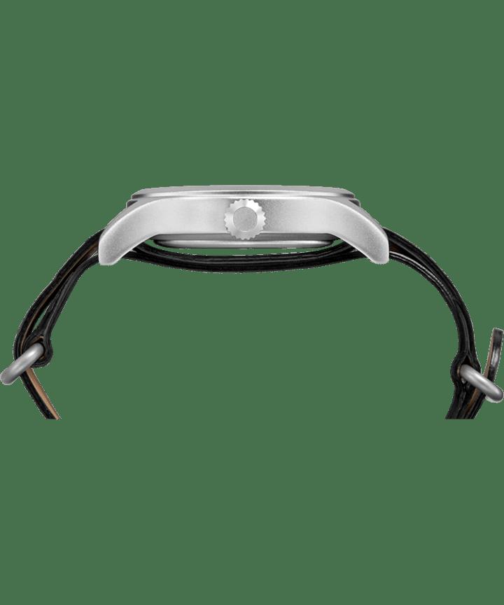 Timex x Keone Nunes 40mm Leather Strap Watch Silver-Tone/Black/Grey large