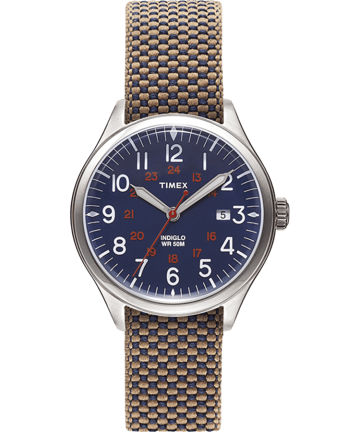 Waterbury United 38mm Fabric Strap Watch Blue/Blue large